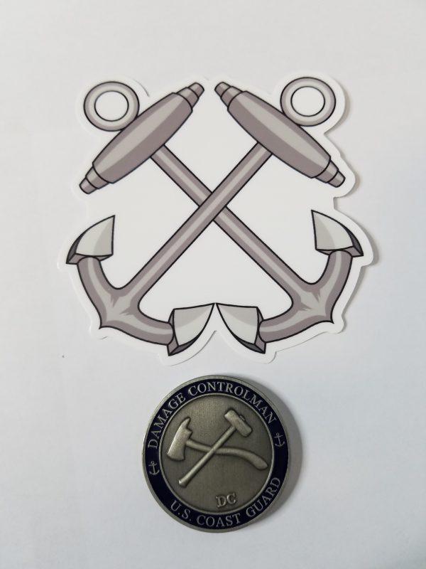 "Boatswain Mate Anchors 4"" USCG / Coast Guard Ensign Sticker"
