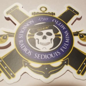 "Gunners Mate Crossed Cannon and Skull 4"" Sticker"