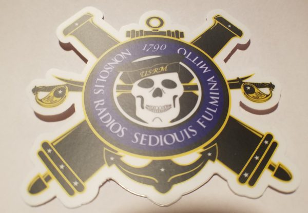 """Gunners Mate Crossed Cannon and Skull 4"""" Sticker"""