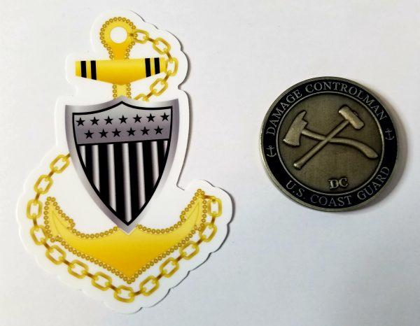Chief Anchor e7 with Racing Stripe USCG Coast Guard Coastie Sticker Salty For You
