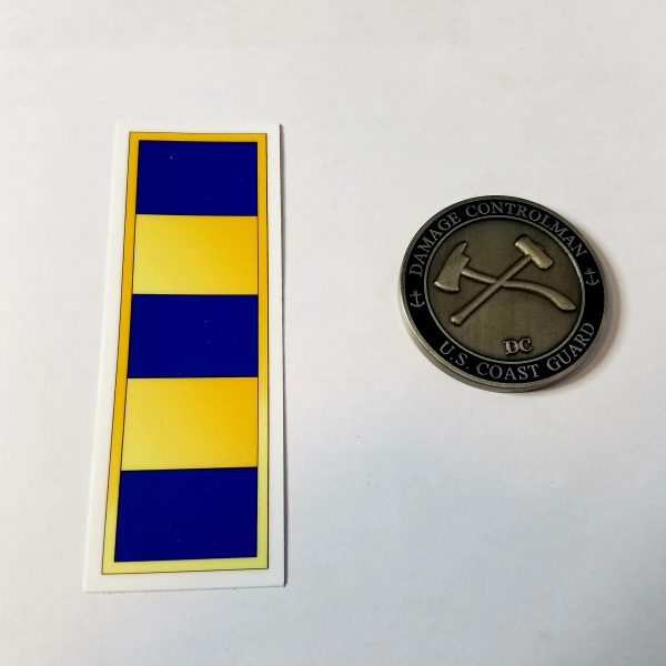 "Warrant Officer Gold Bar W2 4"" with Racing Stripe USCG Coast Guard Coastie Sticker Salty For You"
