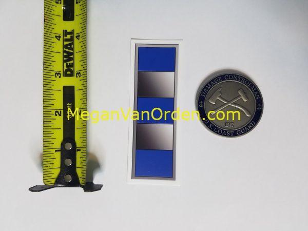 "Warrant Officer silver Bar W4 4"" Sticker with Racing Stripe USCG Coast Guard Coastie Sticker Salty For You"