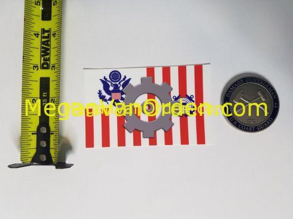 "MK Cog on USCG Ensign 4"" Sticker Machinery Technician with Racing Stripe USCG Coast Guard Coastie Sticker Salty For You"