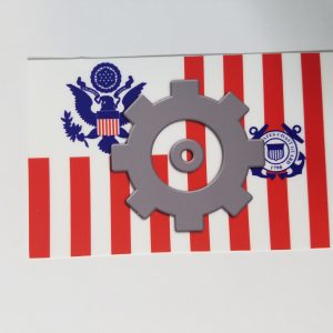 "MK Cog on USCG Ensign 4"" Sticker Machinery Technician with Racing Stripe USCG Coast Guard Coastie Sticker Salty For You"