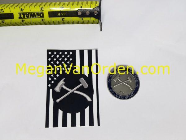 Damage Controlman Axe and Maul on Black and White American flag