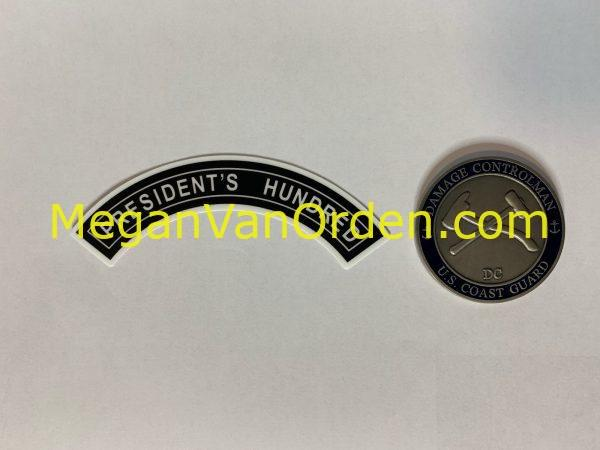 President's Hundred Tab Sticker with Racing Stripe USCG Coast Guard Coastie Sticker Salty For You