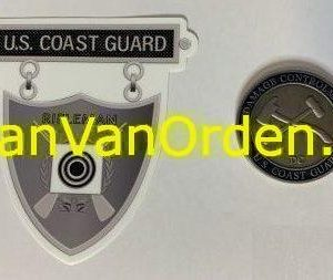Rifle Coast Guard Silver with Racing Stripe USCG Coast Guard Coastie Sticker Salty For You