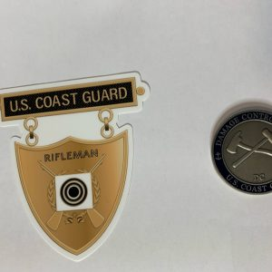 Bronze Rifleman Medal Sticker with Racing Stripe USCG Coast Guard Coastie Sticker Salty For You