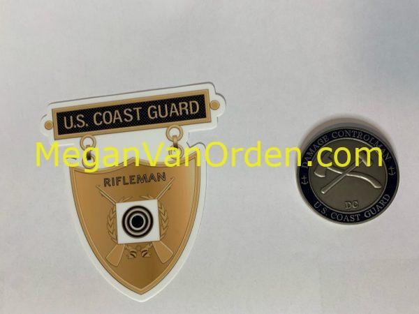 Bronze Rifleman Medal Sticker with Racing Stripe USCG Coast Guard Coastie Sticker Salty For You