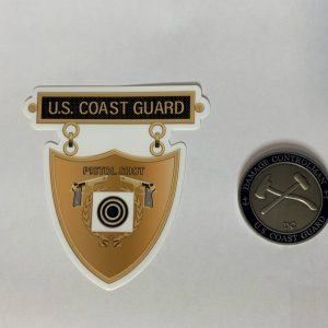 Bronze Pistol Shot Medal USCG Sticker with Racing Stripe USCG Coast Guard Coastie Sticker Salty For You