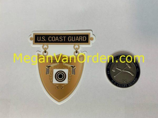 Bronze Pistol Shot Medal USCG Sticker with Racing Stripe USCG Coast Guard Coastie Sticker Salty For You