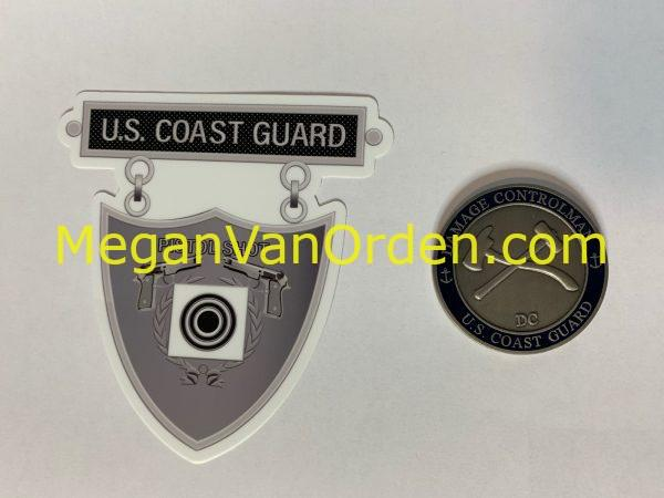 Silver pistol shot medal USCG sticker with Racing Stripe USCG Coast Guard Coastie Sticker Salty For You