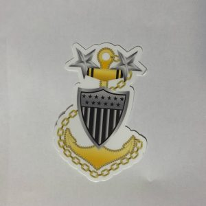 "Master Chief Anchor E9 4"" Sticker with Racing Stripe USCG Coast Guard Coastie Sticker Salty For You"