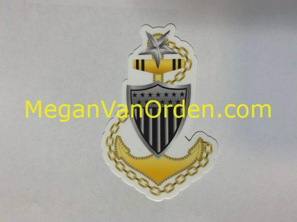 e8 senior chief anchor and shield uscg sticker with Racing Stripe USCG Coast Guard Coastie Sticker Salty For You