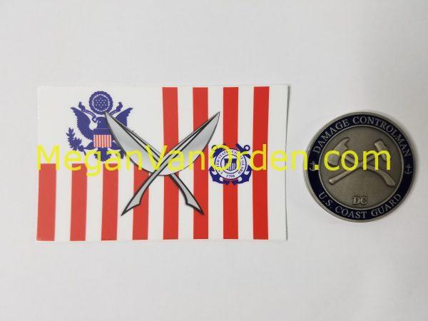 Yeomen on USCG ensign with Racing Stripe USCG Coast Guard Coastie Sticker Salty For You