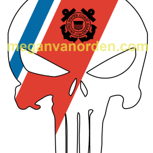 "Punisher Skull with Blue and Orange racing stripe 5"" Sticker"