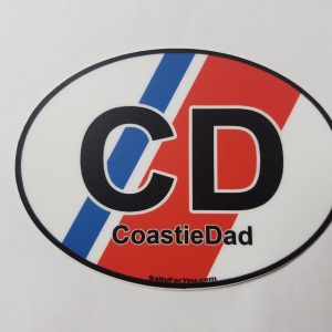 coast guard dad racing stripe oval sticker uscg