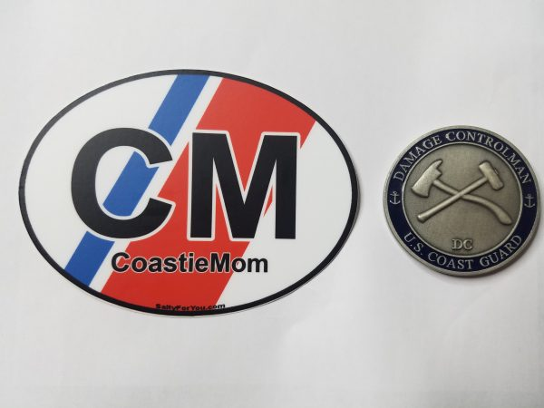 coast guard mom racing stripe oval sticker uscg