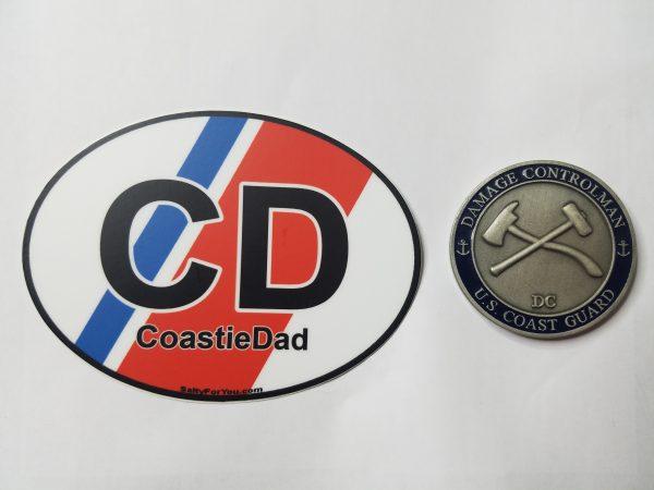 coast guard dad racing stripe oval sticker uscg