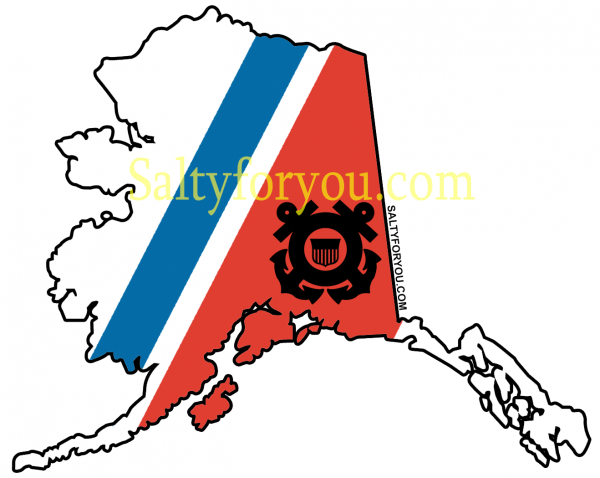 aslaska state outline - white - uscg coast guard sticker