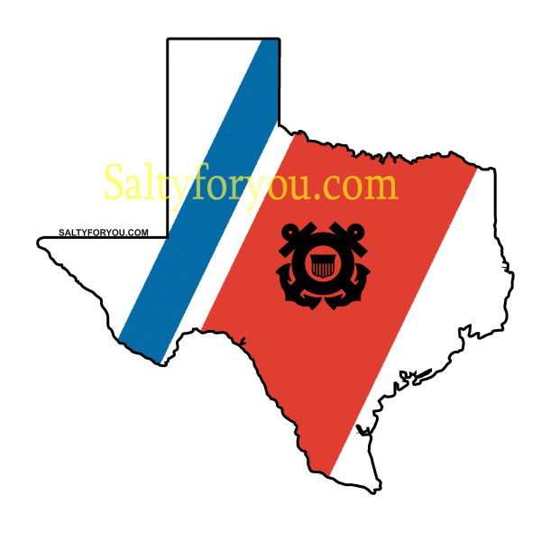 "Texas State outline with Blue and Orange racing stripe 4"" Sticker uscg coast guard"