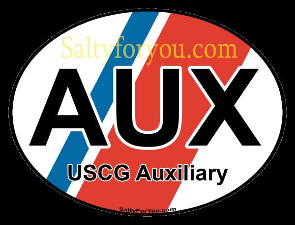 "Oval Coast Guard Auxiliary with Blue and Orange racing stripe 4"" Sticker USCG"