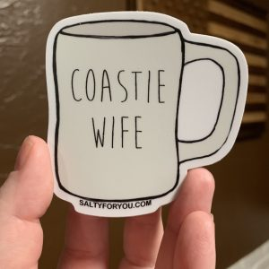 Coastie Mug Sticker USCG with Racing Stripe USCG Coast Guard Coastie Sticker Salty For You