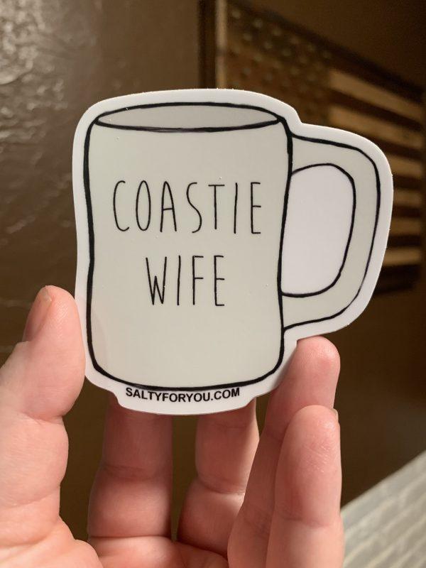 Coastie Mug Sticker USCG with Racing Stripe USCG Coast Guard Coastie Sticker Salty For You