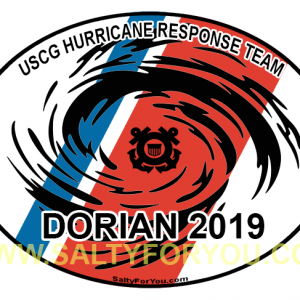 dorian hurricane USCG with Racing Stripe USCG Coast Guard Coastie Sticker Salty For You