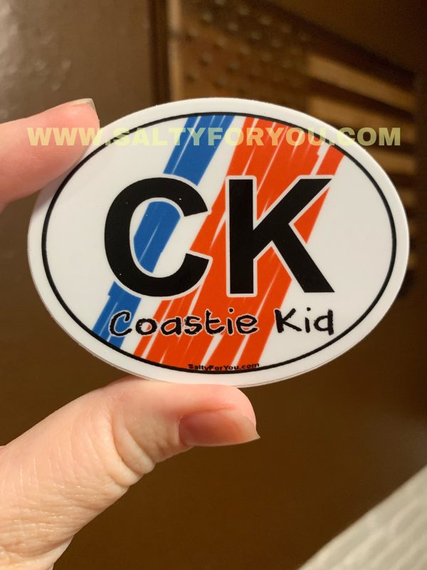 kids oval USCG with Racing Stripe USCG Coast Guard Coastie Sticker Salty For You