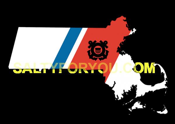 MA USCG with Racing Stripe USCG Coast Guard Coastie Sticker Salty For You