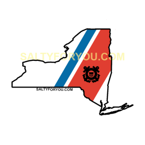 NYC NY USCG with Racing Stripe USCG Coast Guard Coastie Sticker Salty For You