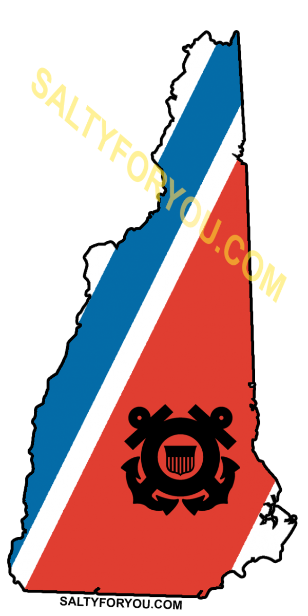 "New Hampshire State outline with Blue and Orange racing stripe 4"" Sticker uscg coast guard"