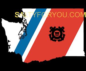 WA USCG with Racing Stripe USCG Coast Guard Coastie Sticker Salty For You