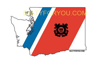 WA USCG with Racing Stripe USCG Coast Guard Coastie Sticker Salty For You
