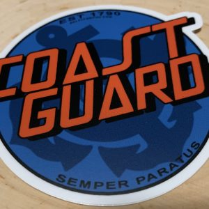 Blue with Orange words Coastie Cruz WEBSITE USCG Sticker Coast Guard Coastie