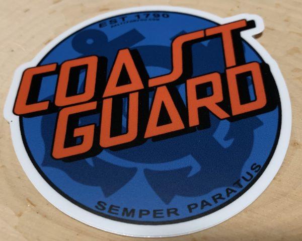Blue with Orange words Coastie Cruz WEBSITE USCG Sticker Coast Guard Coastie