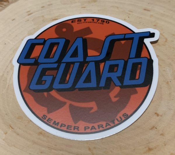 Orange with Blue words Coastie Cruz WEBSITE USCG Sticker Coast Guard Coastie