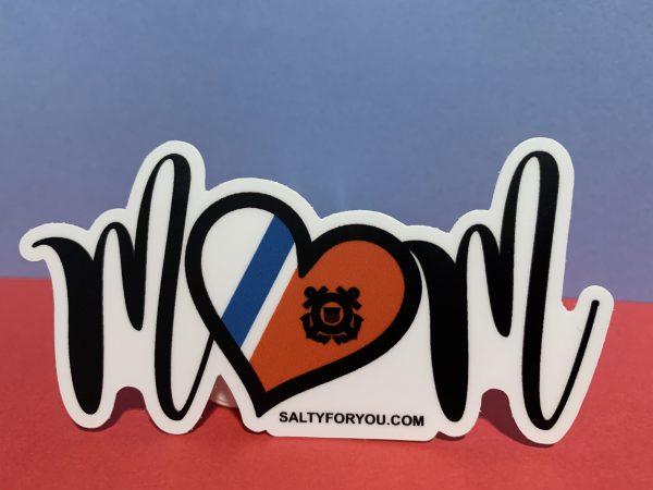 Script MOM with Heart WEBSITE USCG Sticker Coast Guard Coastie